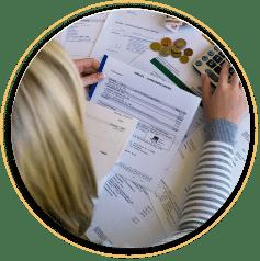 Women calculating her bills