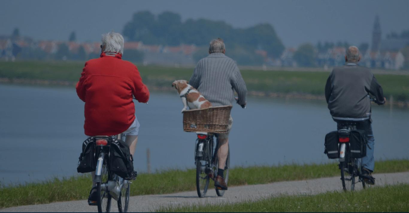 Three men biking by the waterside
